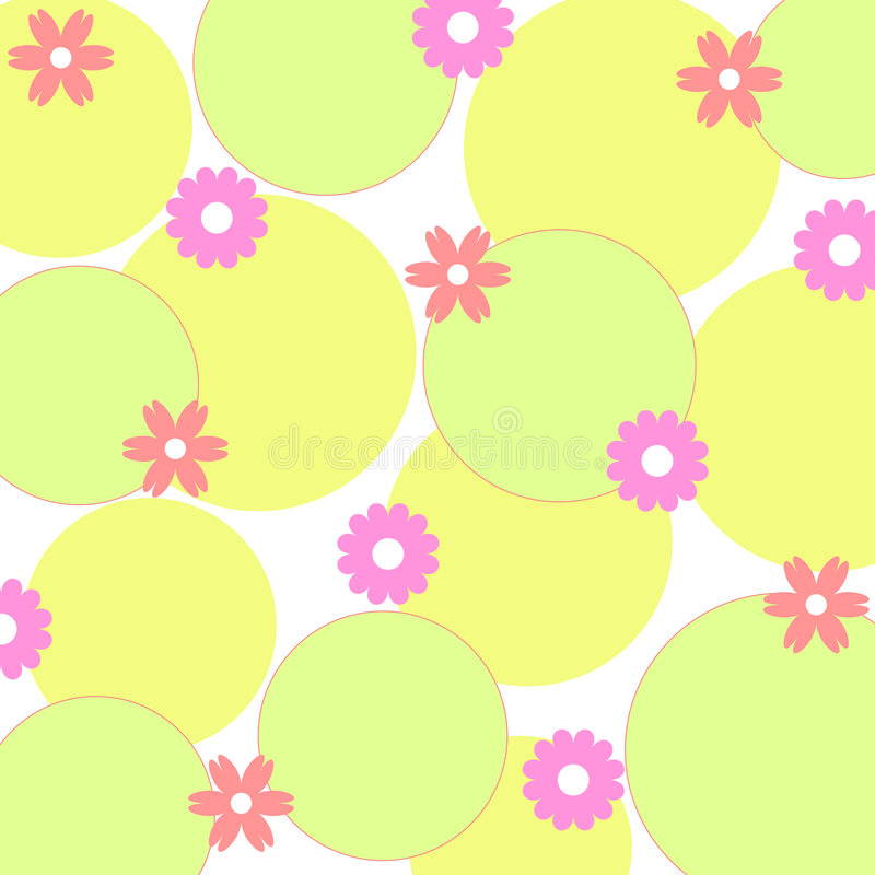 Funky flowers. And circles pattern stock illustration