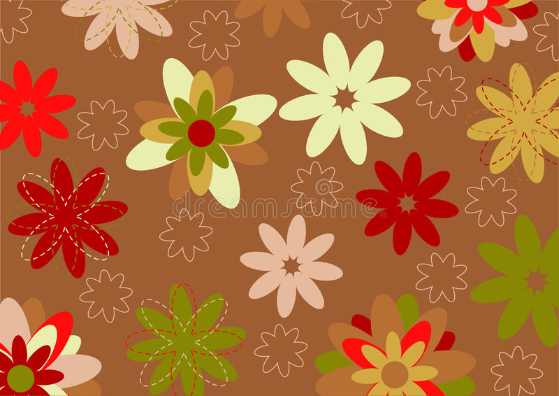 Funky flowers. Vector illustration of multicolored funky flowers abstract pattern on brown background stock illustration