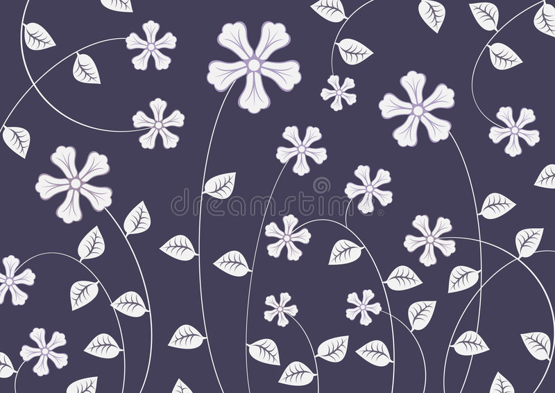 Funky flowers. Vector illustration of white funky flowers abstract pattern on dark violet background stock illustration