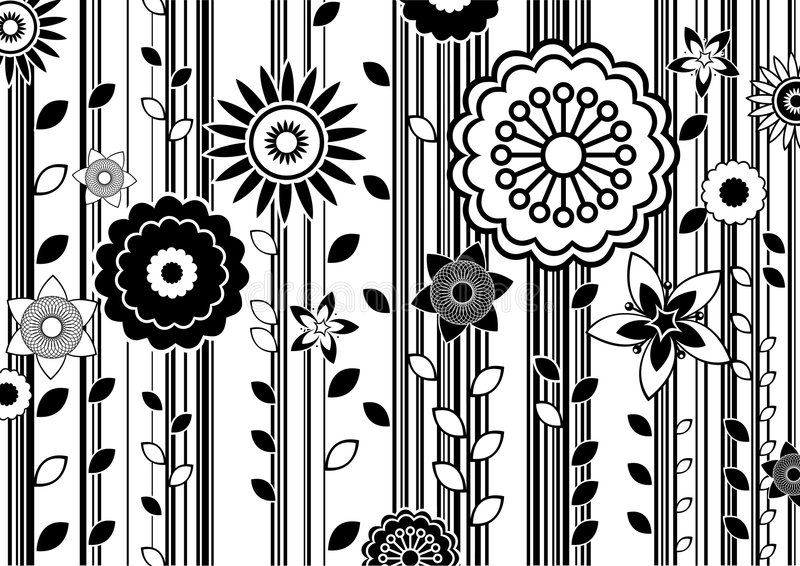 Funky flowers. Vector illustration of black and white funky flowers abstract pattern vector illustration