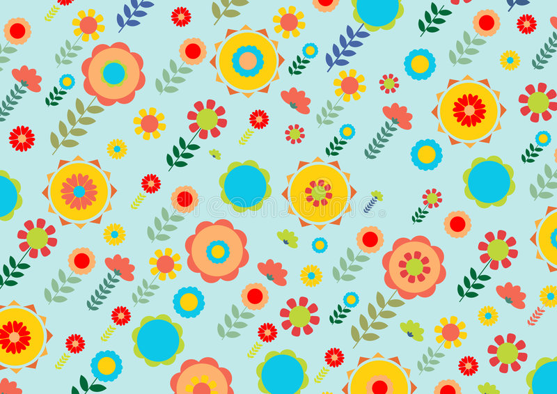 Funky flowers. Vector illustration of multicolored funky flowers and leaves retro pattern on blue background royalty free illustration
