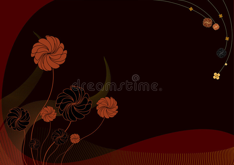 Funky flowers. Vector illustration of funky Background with dark flowers vector illustration