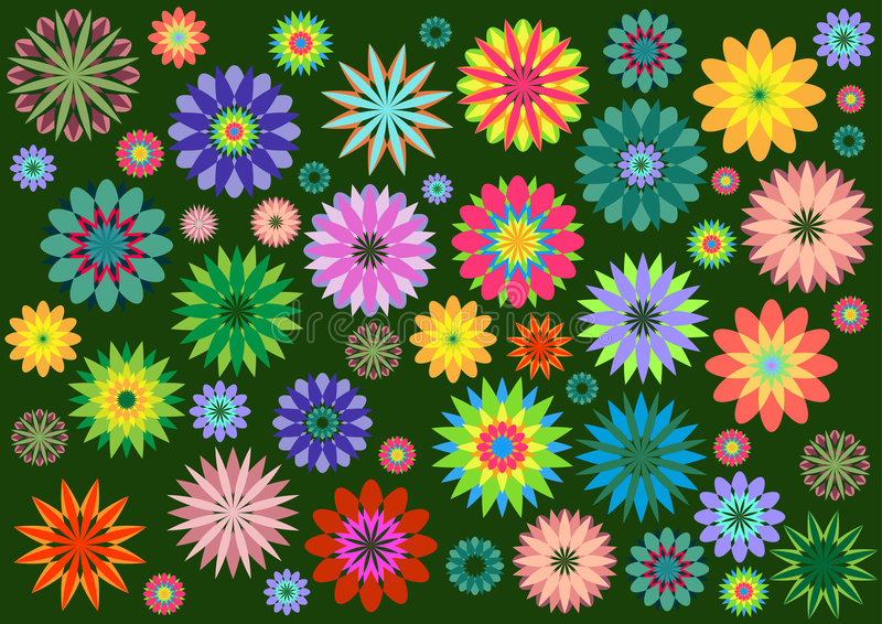Funky flowers. Vector illustration of multicolored funky flowers abstract pattern on green background vector illustration