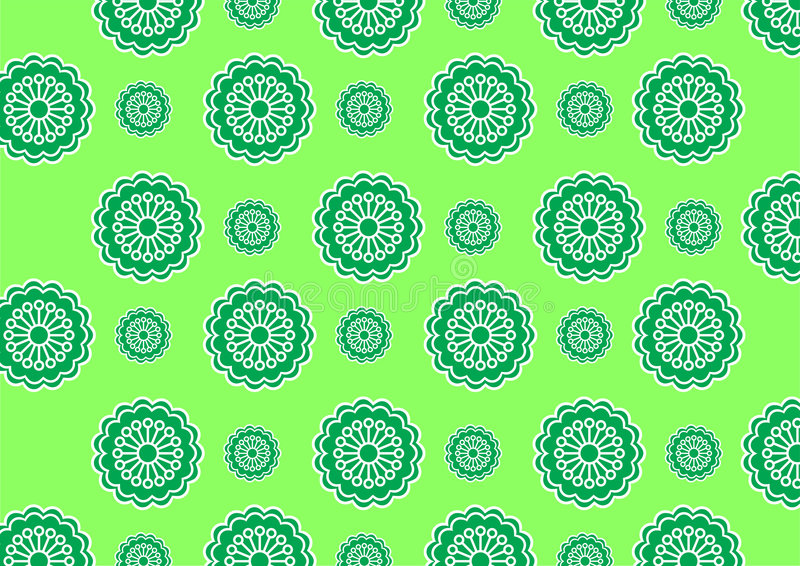 Funky flowers. Vector illustration of funky flowers abstract pattern on green background stock illustration