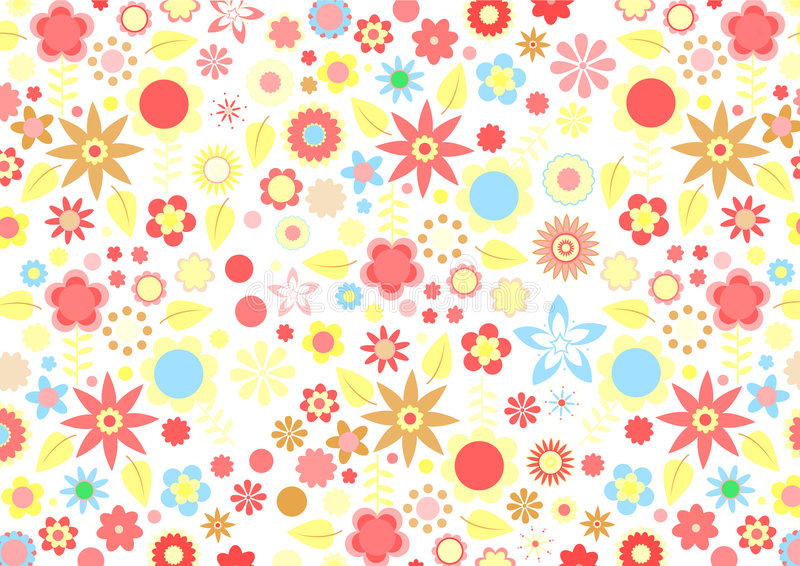 Funky flowers. Vector illustration of multicolored funky flowers and leaves retro pattern on white background stock illustration