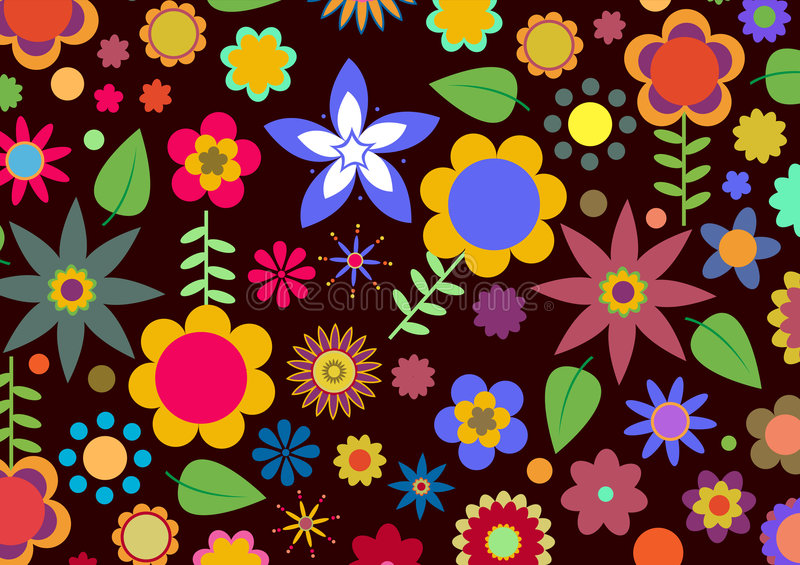 Funky flowers. Vector illustration of multicolored funky flowers abstract pattern on black background vector illustration