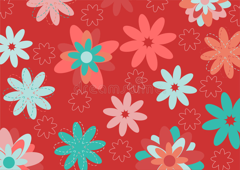 Funky flowers. Vector illustration of multicolored funky flowers and leaves retro pattern on red background royalty free illustration