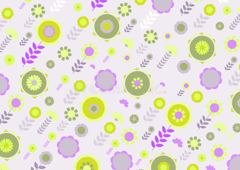 Funky flowers. Vector illustration of green and yellow funky flowers and leaves retro pattern on violet background stock illustration