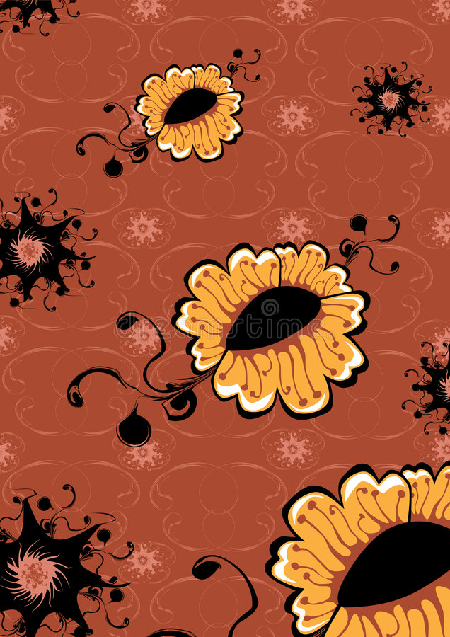 Funky flowers. Vector illustration of funky yellow flowers abstract pattern on brown background stock illustration