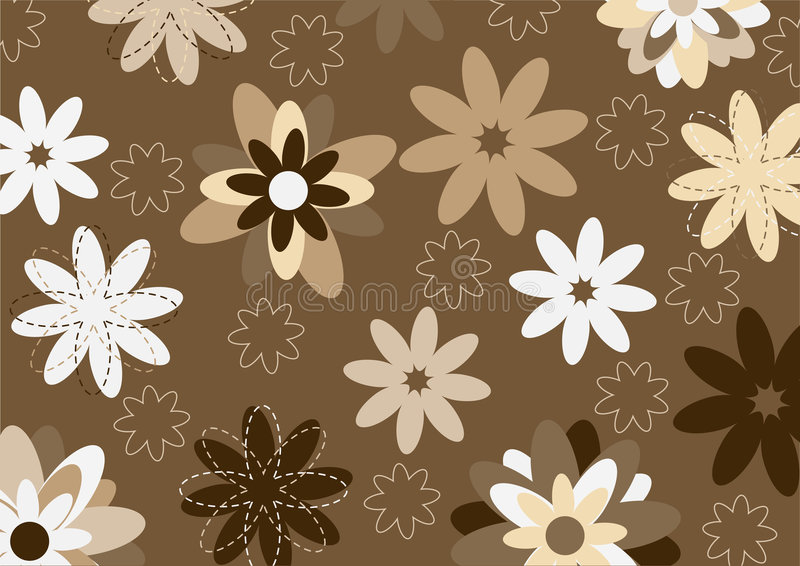 Funky flowers. Vector illustration of funky flowers abstract pattern on brown background stock illustration