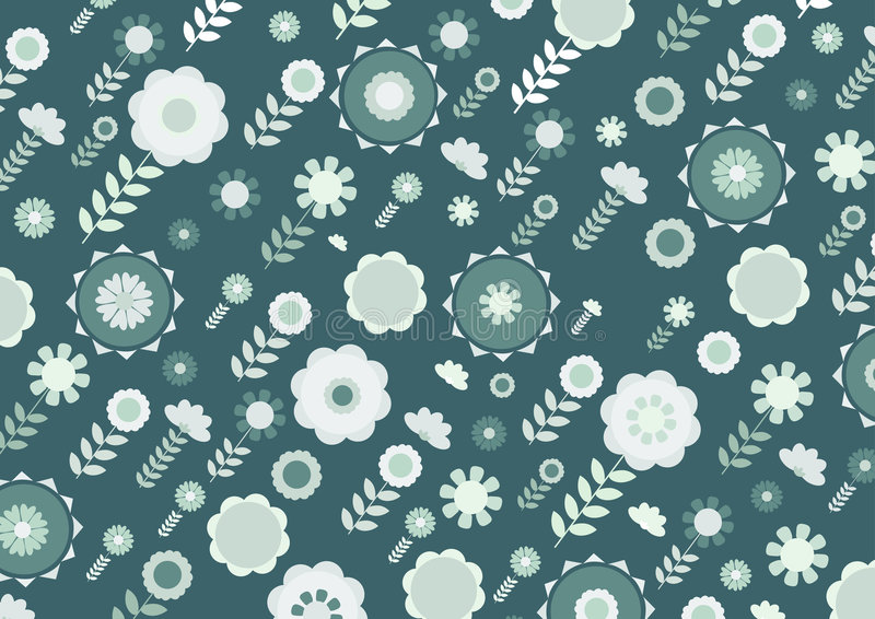 Funky flowers. Vector illustration of green funky flowers and leaves retro pattern on green background vector illustration