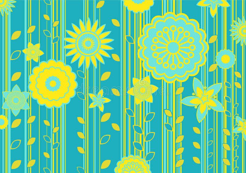 Funky flowers. Vector illustration of green and yellow funky flowers and leaves retro pattern on green background vector illustration
