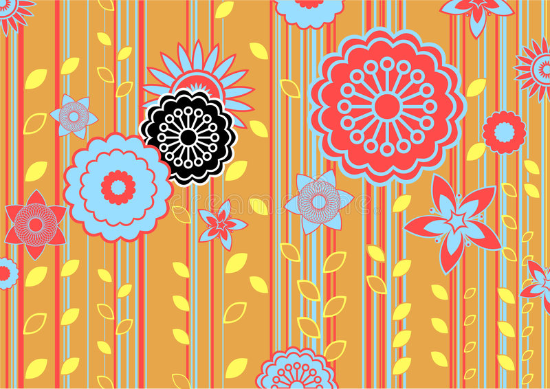 Funky flowers. Vector illustration of funky flowers and leaves retro pattern vector illustration