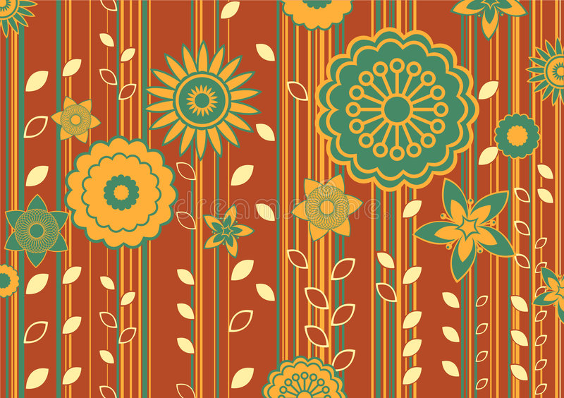 Funky flowers. Vector illustration of funky flowers and leaves retro pattern royalty free illustration