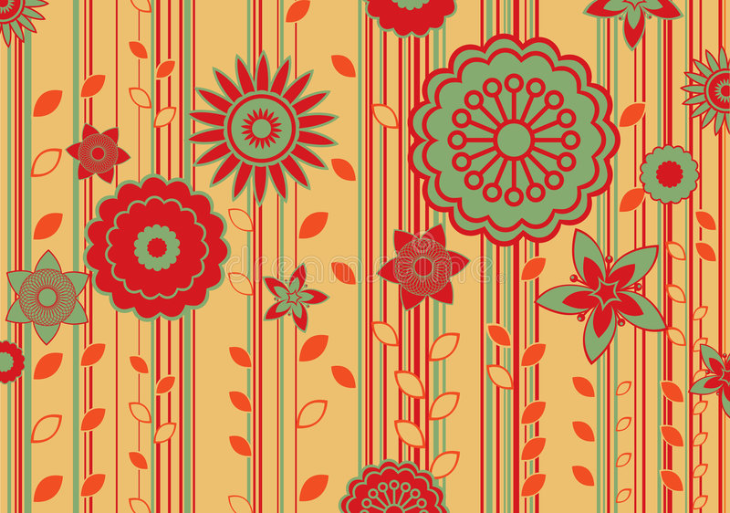 Funky flowers. Vector illustration of funky flowers and leaves retro pattern stock illustration
