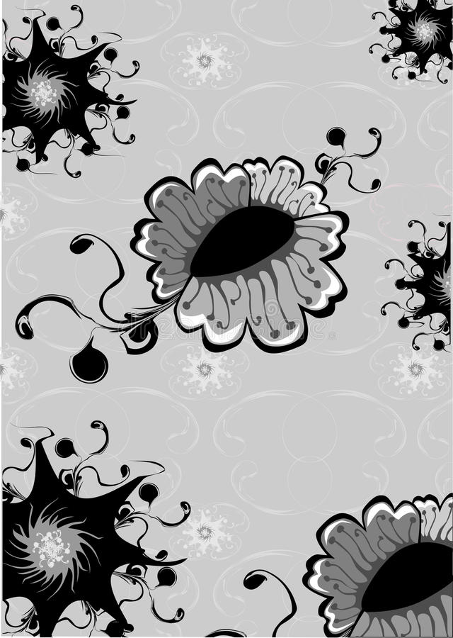 Funky flowers abstract pattern. Vector illustration of funky flowers abstract pattern on the grey background royalty free illustration