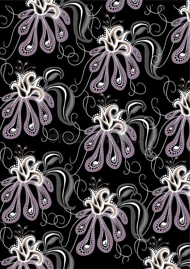 Funky flowers abstract pattern. Vector illustration of funky flowers abstract pattern on the black background royalty free illustration