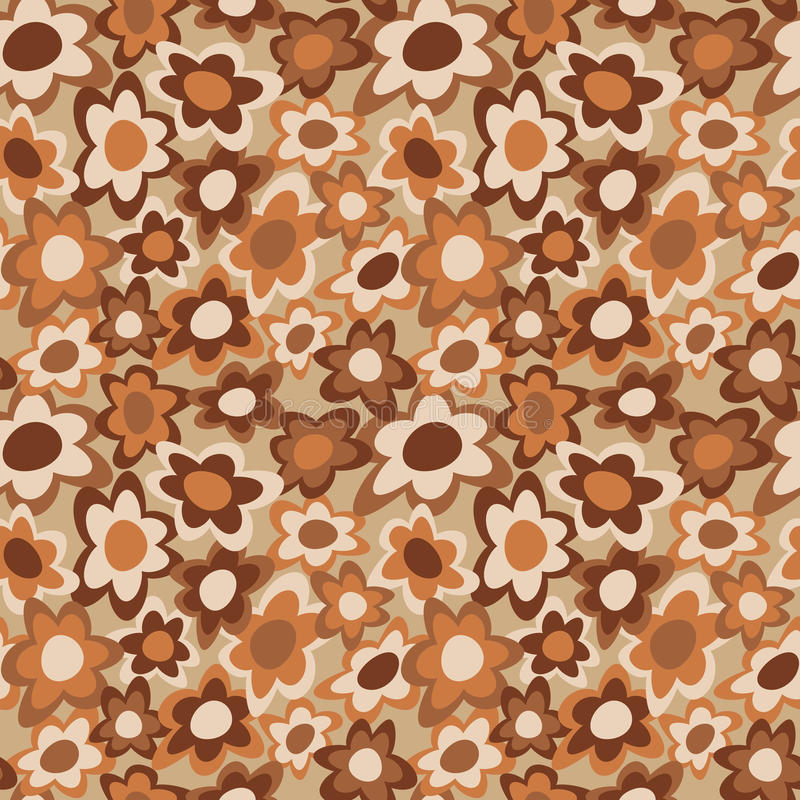 Funky Flowers_Brown stock illustration