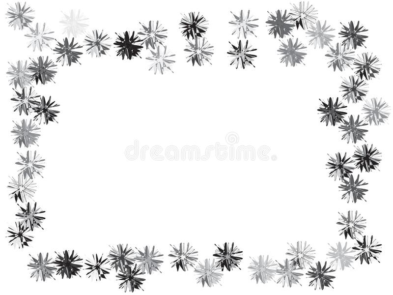 Funky flowers confetti design. Blossom black and gray flowers confetti vector design. Border from falling floral confetti. Funky flowers original illustration stock illustration