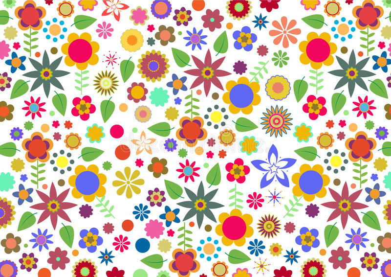 Funky flowers and leaves abstract pattern. Vector illustration of multicolored funky flowers and leaves abstract pattern on white background royalty free illustration