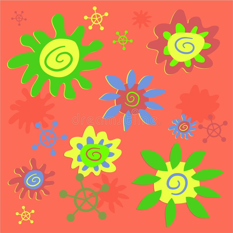 Funky flowers tile. Able background pattern vector illustration