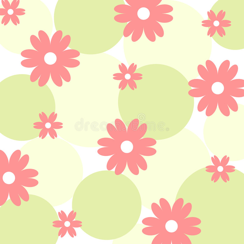 Funky flowers - Vector. Funky flowers and circles pattern stock illustration