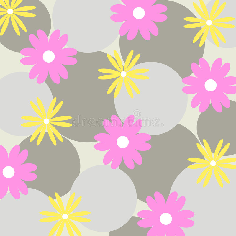 Funky flowers - Vector. Funky flowers and circles pattern royalty free illustration