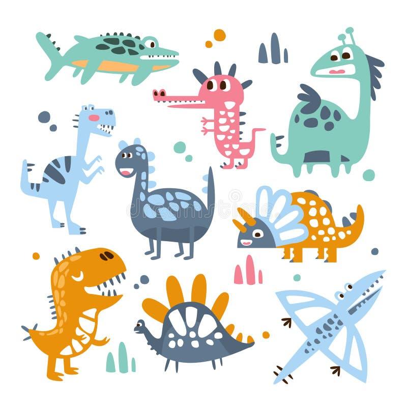 Funky Gestileerde Dinosaurussen Echte Species en Denkbeeldige Jurareptielenreeks Kleurrijke Kinderachtige Drukken royalty-vrije illustratie