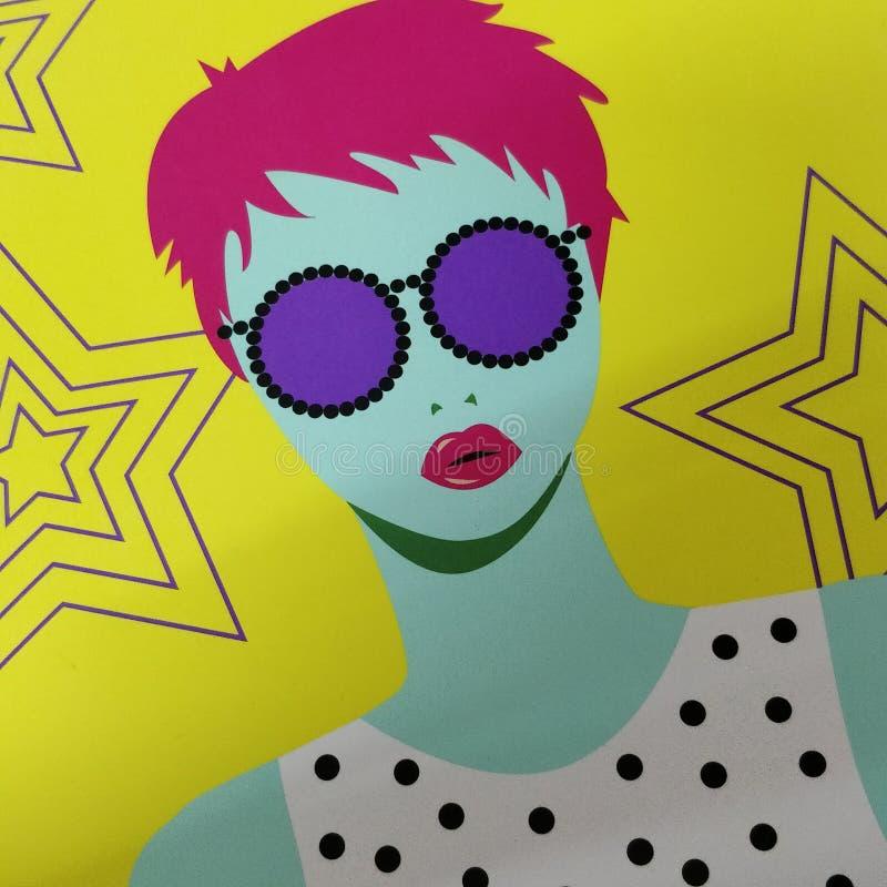 Funky girl stock illustration