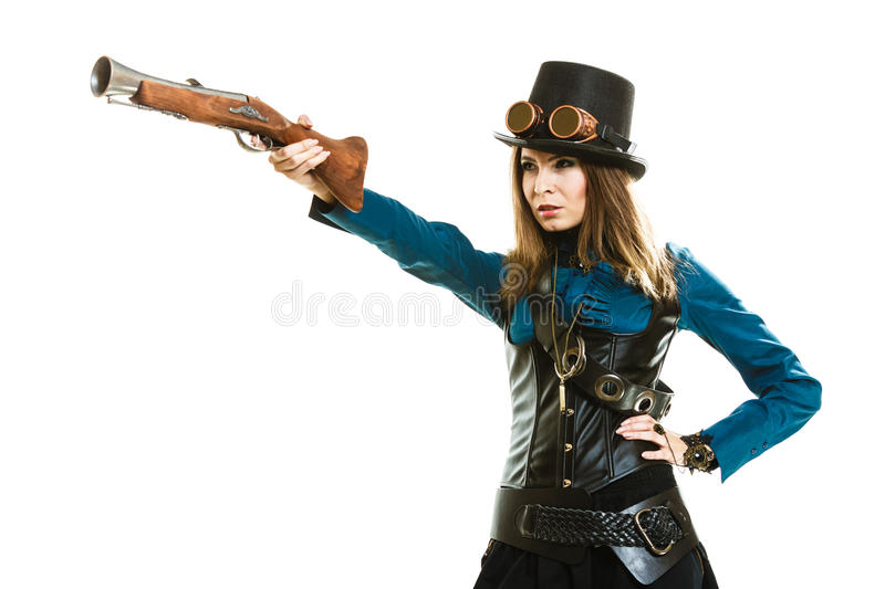 Funky girl in steampunk style. royalty free stock photos