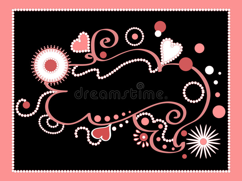 Funky hearts and florals stock illustration
