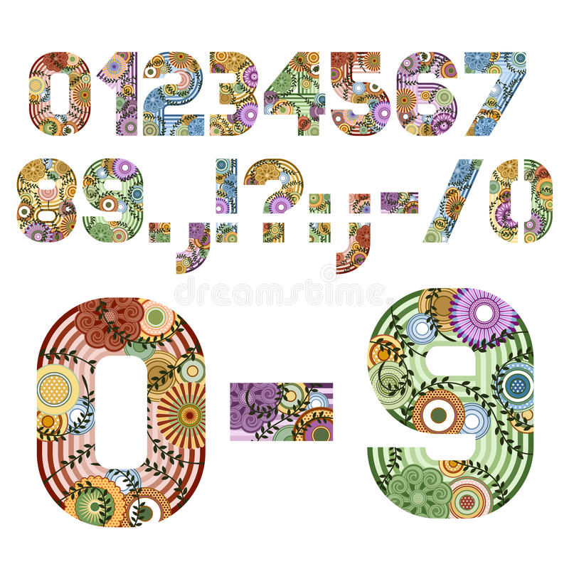 Funky Letters Number Figures royalty free illustration