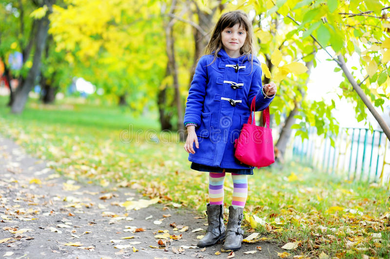 Funky little child girl in autumn stock images