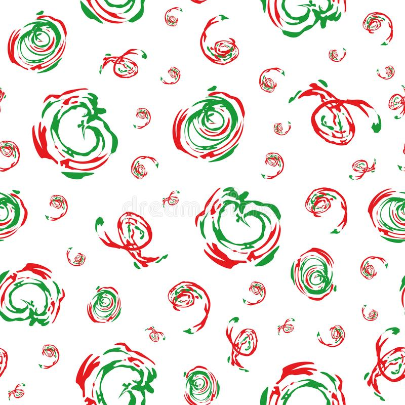 Funky modern brushstroke effect green and red circles and swirls. Vector seamless pattern on white background. Relaxed. Vibe. Great for festive Christmas royalty free illustration