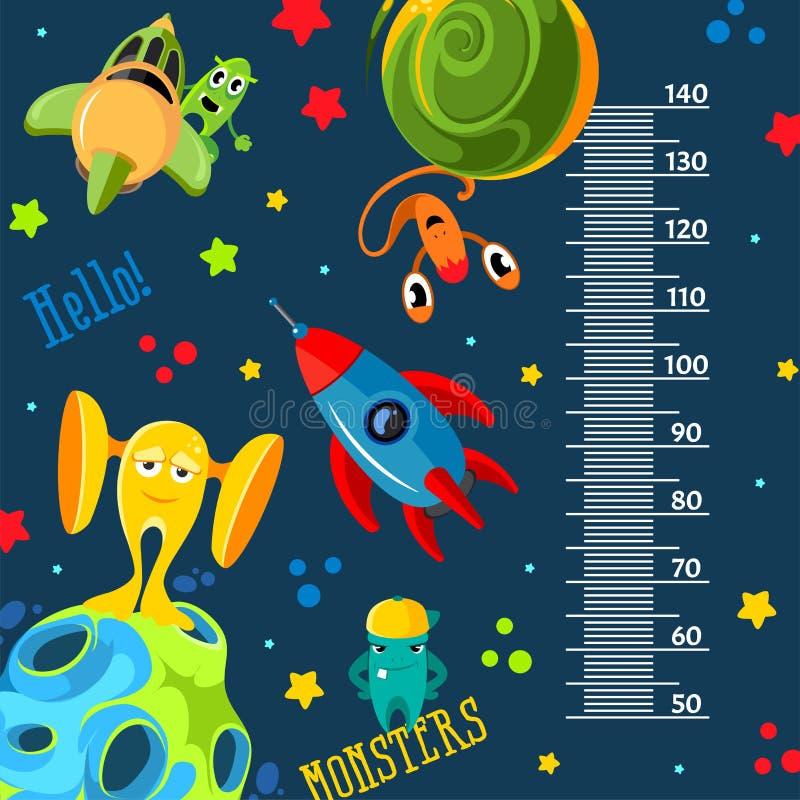 Funky monsters met raketten en planeten in ruimte Stadiometer vector illustratie
