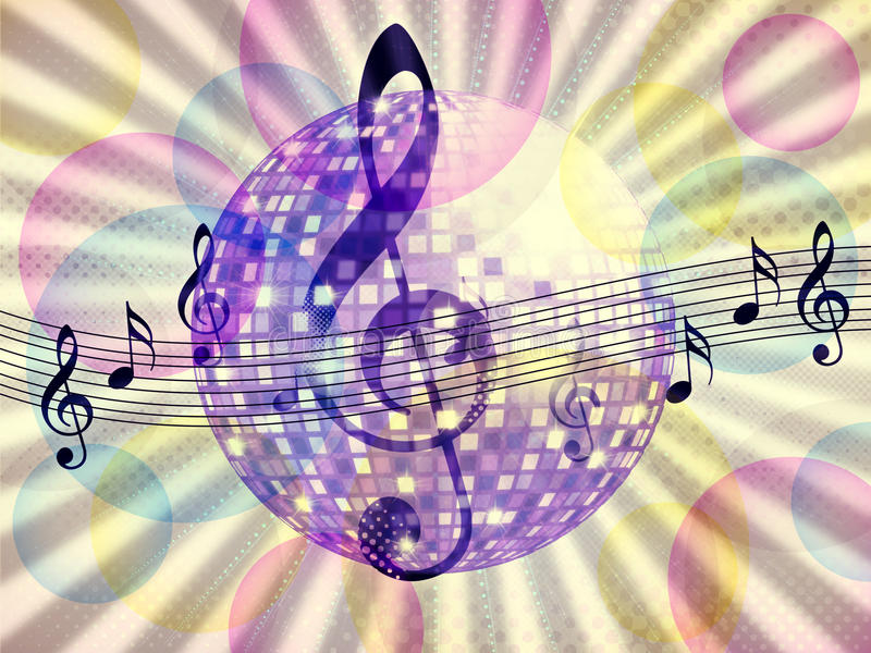 Funky Music Background With Dico Ball Stock Illustration ...