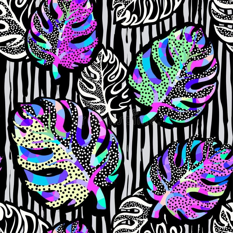 Funky naadloze patroon van de palmbladenzomer royalty-vrije illustratie