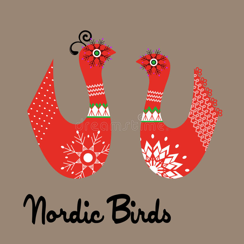 Funky Nordic birds. Male and female royalty free illustration