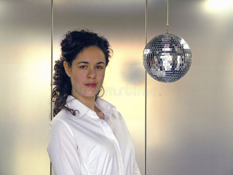 Funky Office Worker. And disco ball royalty free stock image