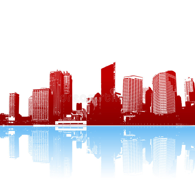 Funky panorama van stad met bezinning. Vector art. vector illustratie