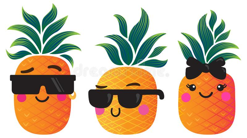 Funky cartoon pineapples with groovy leaves stock illustration