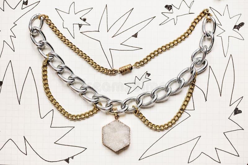 Funky Punk style metal choker necklace stock photo