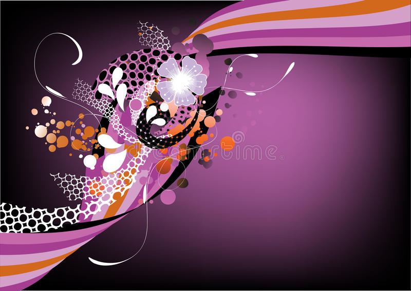 Funky purple retro graphic. With swirls, dots and flowers on purple background vector illustration