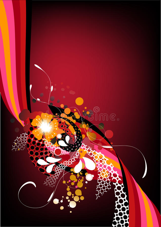 Funky red retro graphic. With swirls, dots and flowers on red background stock illustration