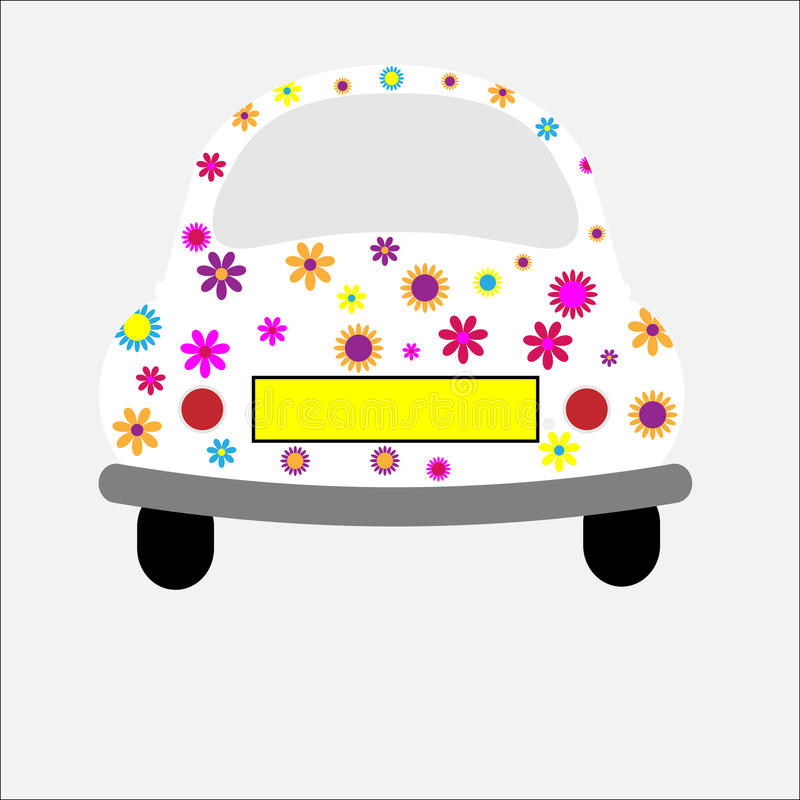 Funky Retro Car Flowers. Floral funky retro style white car with space on number plate for copy royalty free illustration