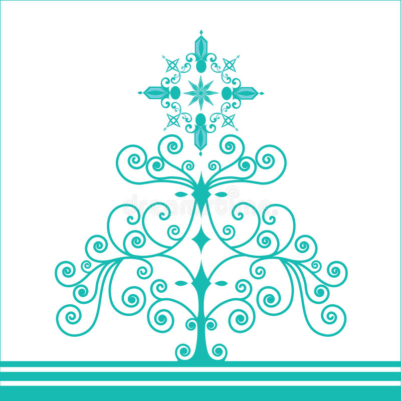 Funky retro coil christmas tree. With snowflake topper vector illustration