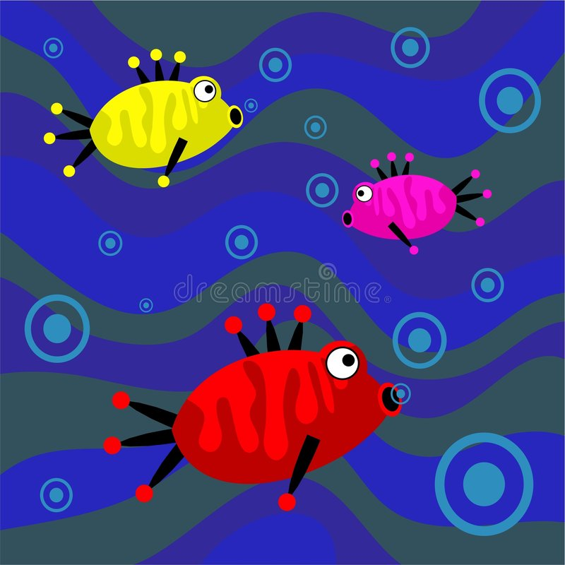 Funky retro fish royalty free illustration