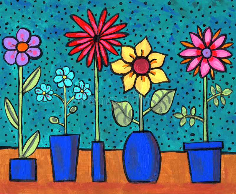 Funky Retro Flowers. Painting/illustration of fun flowers in blue flowerpots with polka-dot background stock illustration