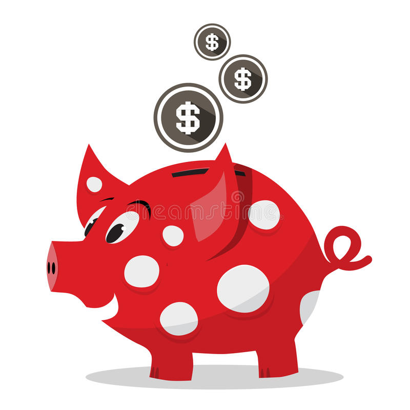 Funky Rood Geldvarken - Spaarvarken met Dollarmuntstukken stock illustratie