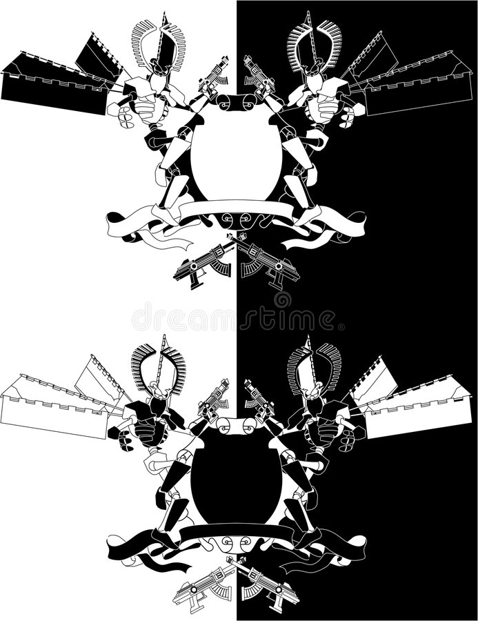 Funky samurai robot monochrome vector illustration